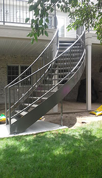 Deck Metal Curved Staircase