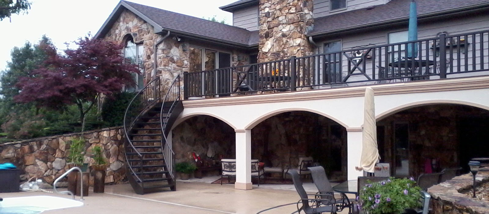 Curved Stair Railing for Deck - Jefferson City, MO